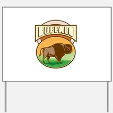 American Bison Buffalo Oval Woodcut Yard Sign