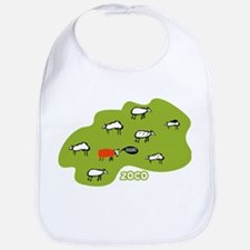 Cute and funky Zoco baby bib with cuddly sheep