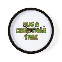 Hug Christmas Trees Wall Clock
