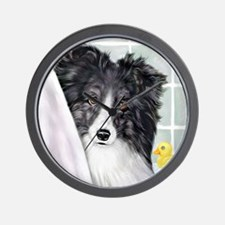 Bi Black Sheltie Bath Wall Clock