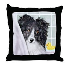 Bi Black Sheltie Bath Throw Pillow