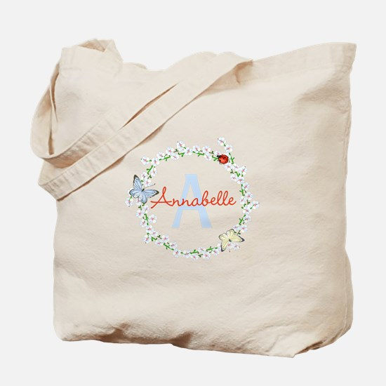 Cute Butterfly Floral Monogram Tote Bag