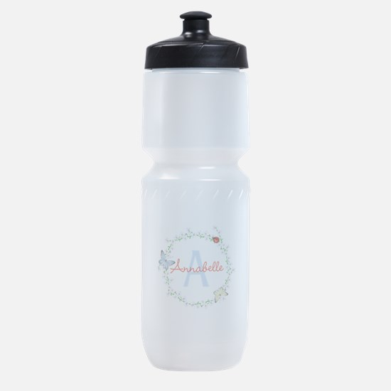 Cute Butterfly Floral Monogram Sports Bottle