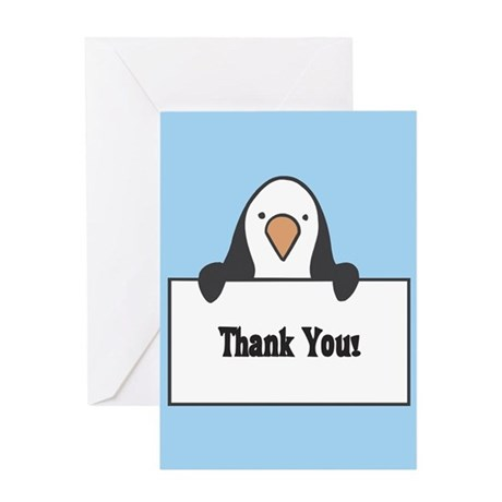 Penguin Thank You Card - Blank Inside