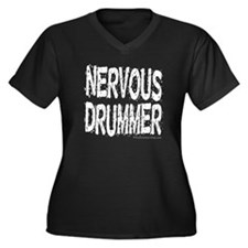 Nervous Drummer : Women's Plus Size V-Neck Dark T-