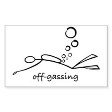 Off-Gassing Cartoon Scuba Diver Sticker (Rectangul