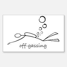 Off-Gassing Cartoon Scuba Diver Sticker (Rectangul