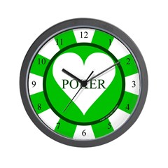 Green Heart Poker Chip Wall Clock