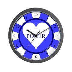 Blue Heart Poker Chip Wall Clock