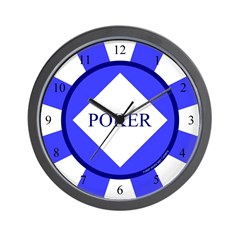 Blue Diamond Poker Chip Wall Clock