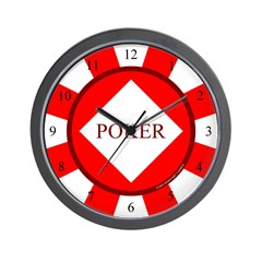 Red Diamond Poker Chip Wall Clock