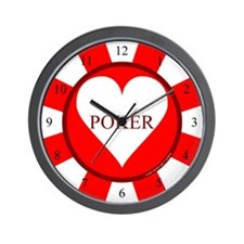 Red Heart Poker Chip Wall Clock