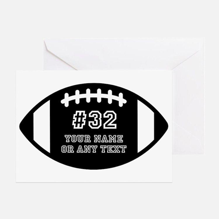 Custom Football Name Number Personal Greeting Card