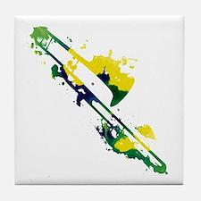 Paint Splat Trombone Tile Coaster