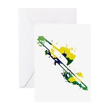 Paint Splat Trombone Greeting Card