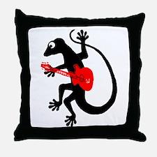 Gecko Guitar Throw Pillow