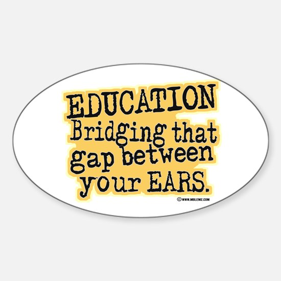 Beige, Education Bridging The Gap Oval Decal