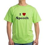I Love Speech  Green T-Shirt