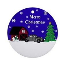 Rat Rod Christmas Ornament (Round)
