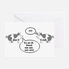 Schweine (gray/white) Greeting Card