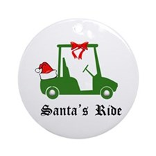 Santa's Golf Ride - Ornament (Round)