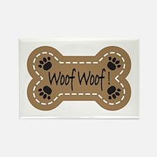 Dog Bone Paw Print Woof Rectangle Magnet