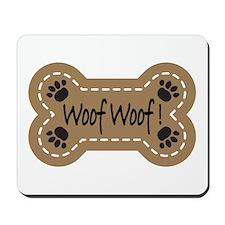 Dog Bone Paw Print Woof Mousepad