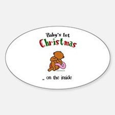 First christmas on the inside Oval Decal