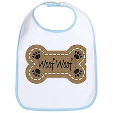 Dog Bone Paw Print Woof Bib