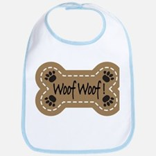 Dog Bone Paw Print Woof Bib