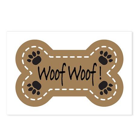 Dog Bone Paw Print Woof Postcards (Package of 8)