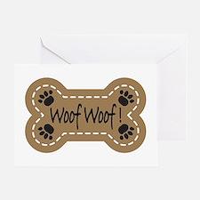 Dog Bone Paw Print Woof Greeting Card