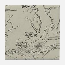 Vintage Map of Pensacola Florida (178 Tile Coaster