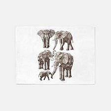 Geometric Elephants 5'x7'Area Rug