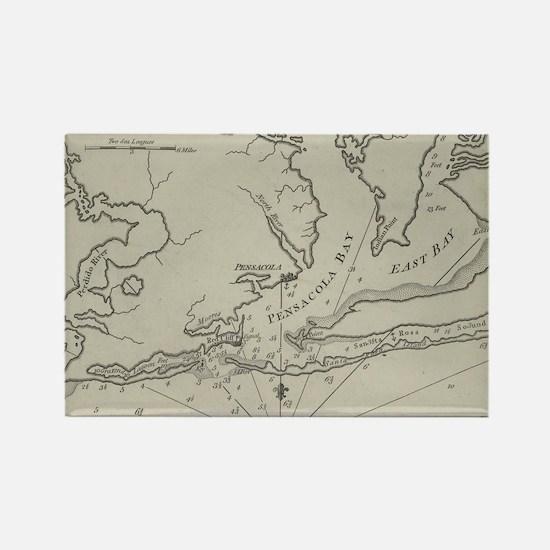 Vintage Map of Pensacola Florida (1788) Magnets
