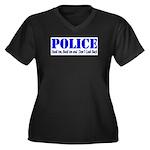 Hook'em Police Women's Plus Size V-Neck Dark T-Shi