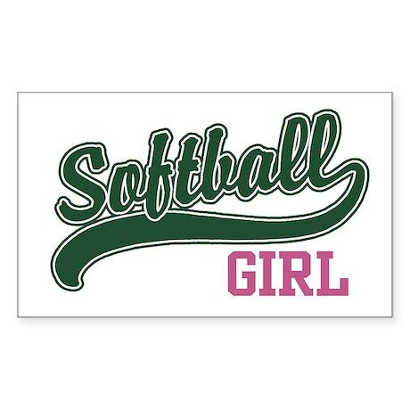 Softball Girl Rectangle Sticker