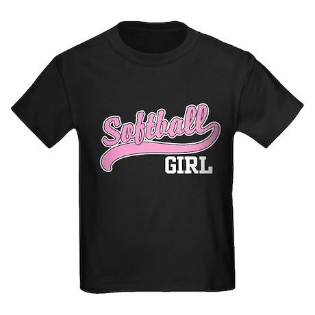 Softball Girl Kids Dark T-Shirt