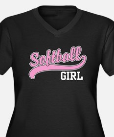 Softball Girl Women's Plus Size V-Neck Dark T-Shir