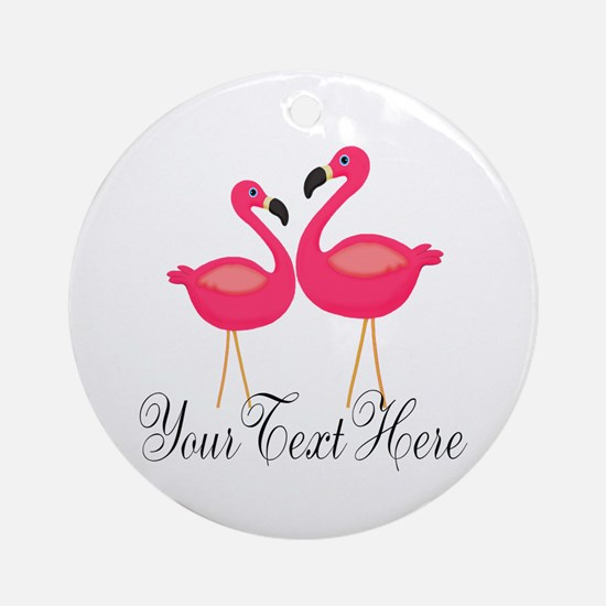 Pink Flamingos Round Ornament