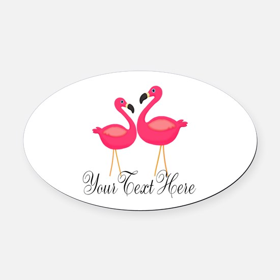 Pink Flamingos Oval Car Magnet