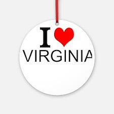 I Love Virginia Round Ornament
