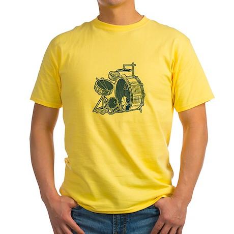 Vintage Drum Set Yellow T-Shirt