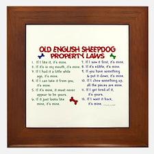 Old English Sheepdog Property Laws 2 Framed Tile