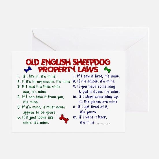 Old English Sheepdog Property Laws 2 Greeting Card