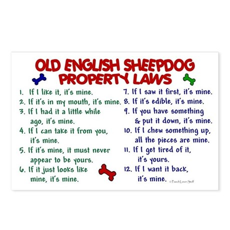 Old English Sheepdog Property Laws 2 Postcards (Pa