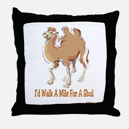 WALK A MILE FOR A SHUL Throw Pillow