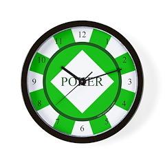 Green Diamond Poker Chip Wall Clock
