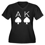 Ace King Women's Plus Size V-Neck Dark T-Shirt