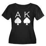 Ace King Women's Plus Size Scoop Neck Dark T-Shirt